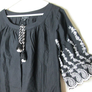 Eloquii Dresses - Eloquii Black white embroidered dress tassel tie